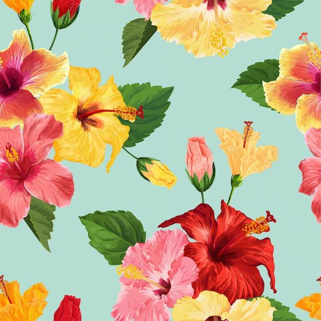 Flor de hibisco tropical sem costura padrão floral background Vetor Premium