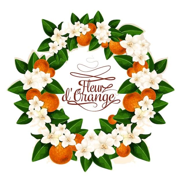 Flor de laranja fundo Vetor Premium