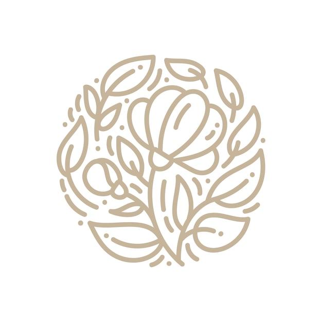 Flor de logotipo emblema abstrata em um círculo no estilo linear. Vetor Premium