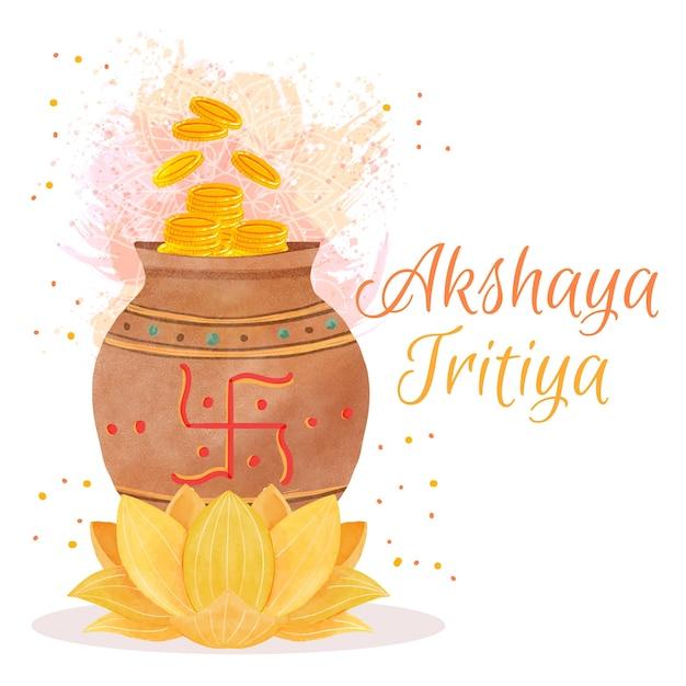 Flor de lótus feliz akshaya tritiya Vetor grátis