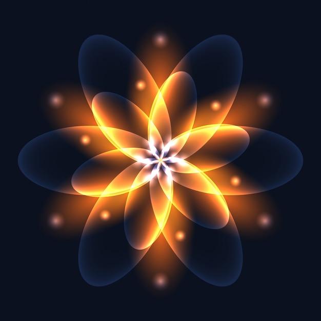 Flor de luz brilhante abstrata, símbolo da vida e energia, fogo Vetor Premium