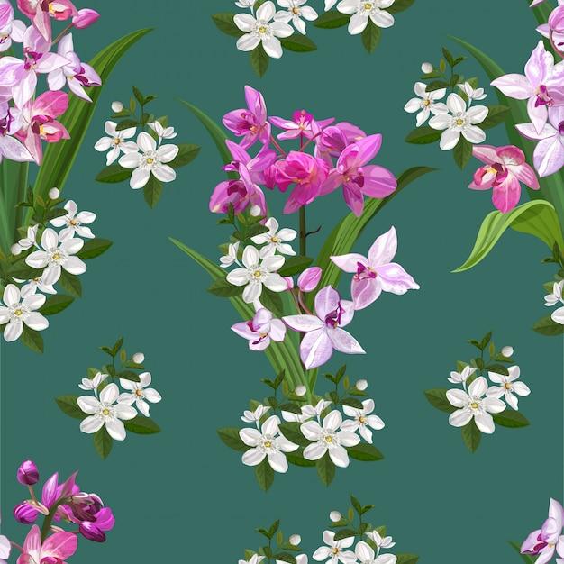 Flor de orquídea sem costura padrão ilustração Vetor Premium