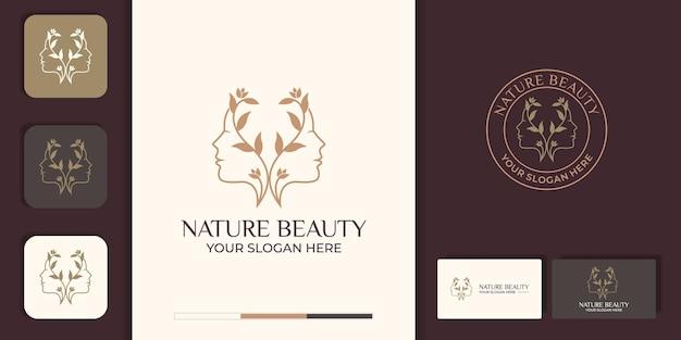 Flor de rosto de mulher bonita com logotipo de estilo de linha de arte e design de cartão de visita. conceito de design abstrato Vetor Premium