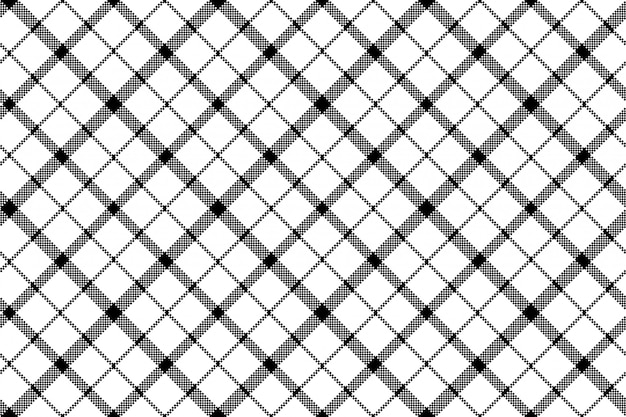 Flor de tartan da escócia sem costura padrão de pixel branco preto Vetor Premium
