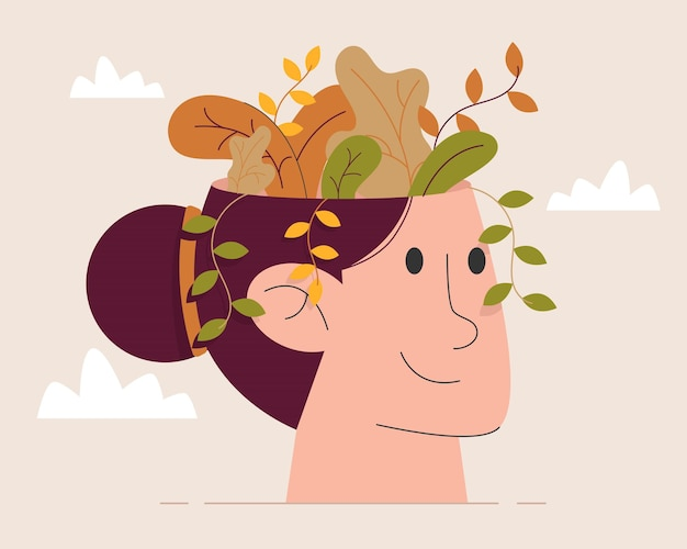 Flor dentro da cabeça da mulher Vetor Premium