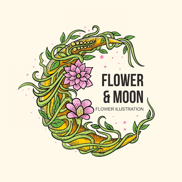 Flor desenhada mão ilustration Vetor Premium