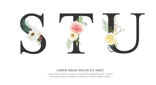 Flor do alfabeto stu e aquarela das folhas. Vetor Premium