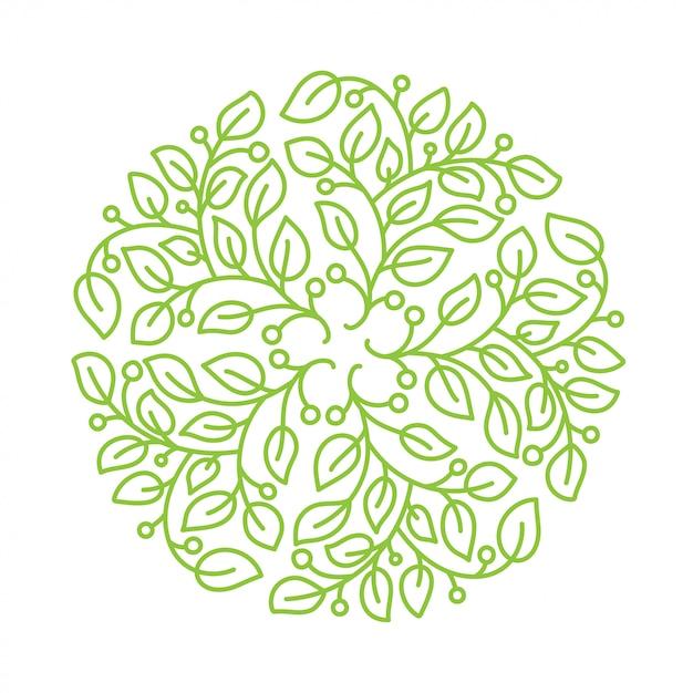 Flor do logotipo. elemento redondo floral vintage. Vetor Premium