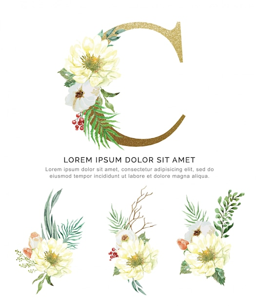 Flor do ramalhete do alfabeto c e aquarela da coleção das folhas. Vetor Premium