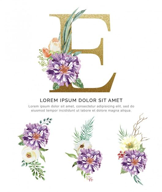 Flor do ramalhete do alfabeto e e aquarela da coleção das folhas. Vetor Premium