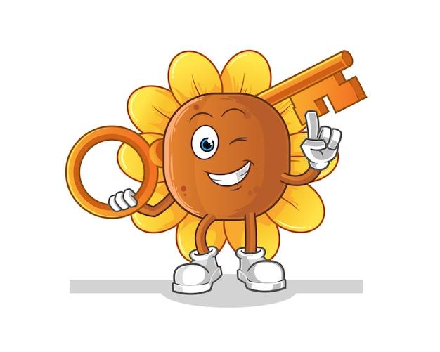 Flor do sol segurando uma ilustração importante Vetor Premium