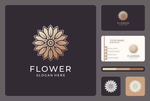 Flor dourada, floral, natureza, design de logotipo de beleza com cartão de visita. Vetor Premium