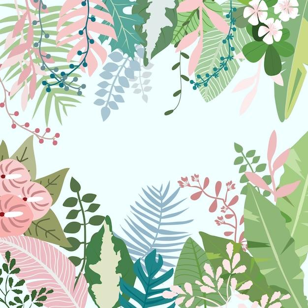 Flor e folha doces na floresta tropical botânica. Vetor Premium