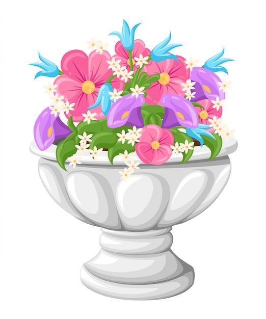 Flor em vasos de cerâmica cinza para cultivo de plantas. panela de barro em uma isometria, isolada em um fundo branco. Vetor Premium
