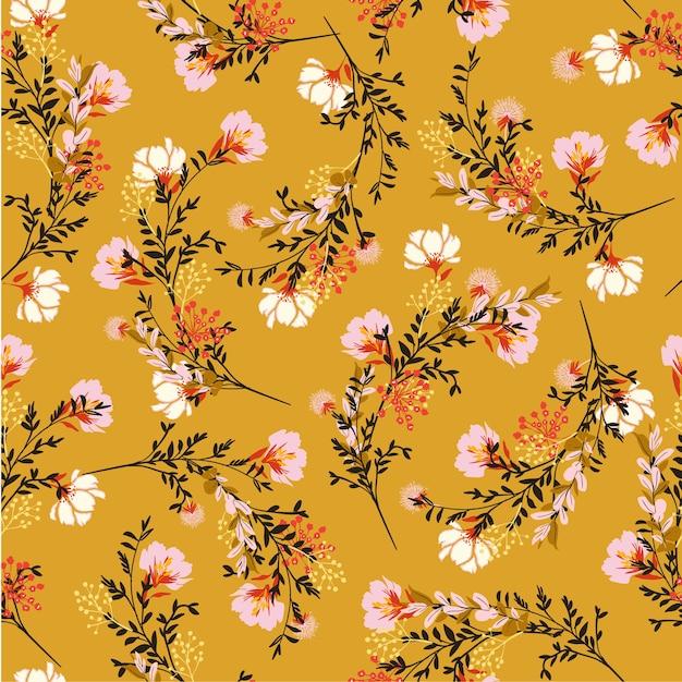 Flor floral padrão Vetor Premium
