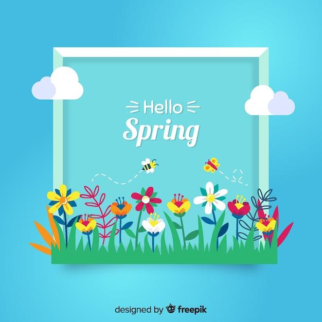 Flor, grupo, primavera, fundo Vetor grátis