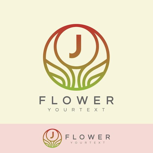 Flor inicial projeto da letra j logo Vetor Premium
