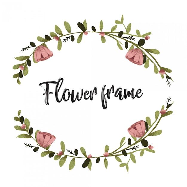 Flor, mão quadro, desenhado, cobrança Vetor Premium