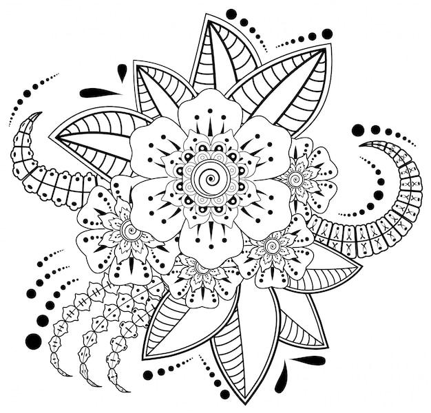 Flor mehndi para desenho e tatuagem de henna. decoração em estilo étnico oriental, indiano. Vetor Premium