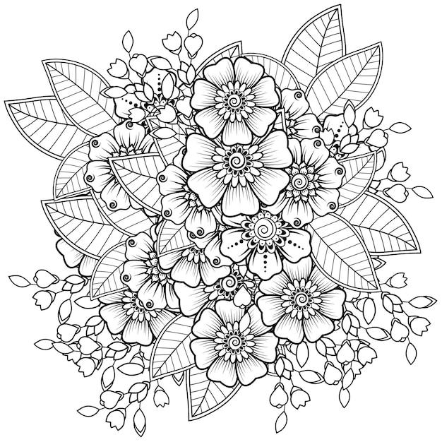 Flor mehndi para enfeite de doodle de henna Vetor Premium