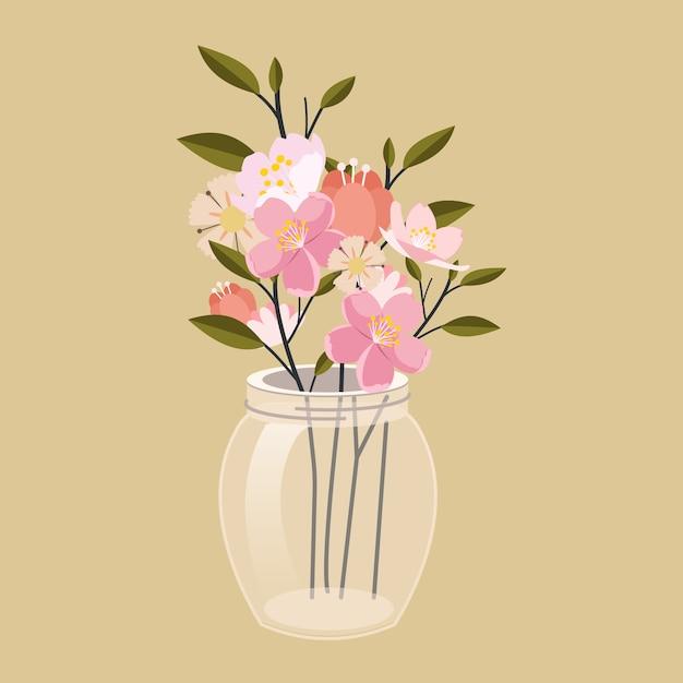 Flor na jarra. o jarro transparente tem uma linda flor Vetor Premium