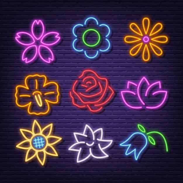 Flor néon ícones Vetor Premium