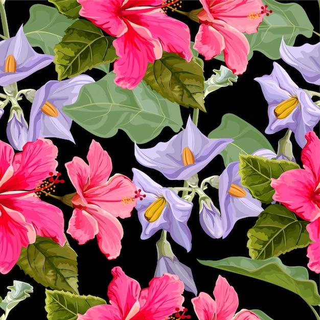 Flor padrão sem emenda com flor de hibisco Vetor Premium