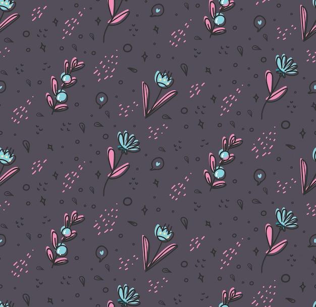 Flor padrão sem emenda em ilustração de estilo doodle Vetor Premium