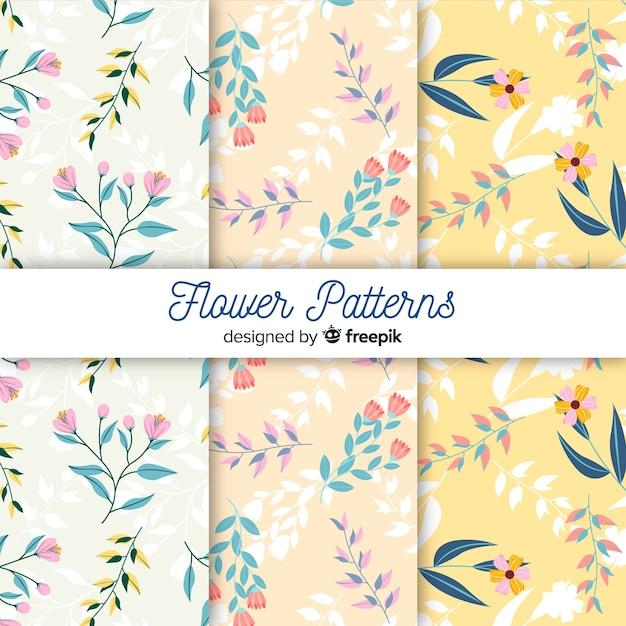 Flor plana e deixa a coleção padrão Vetor grátis