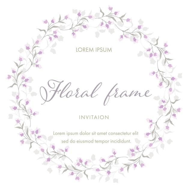 Flor roxa para grinalda de quadro floral. modelo de cartão de convite de casamento Vetor Premium
