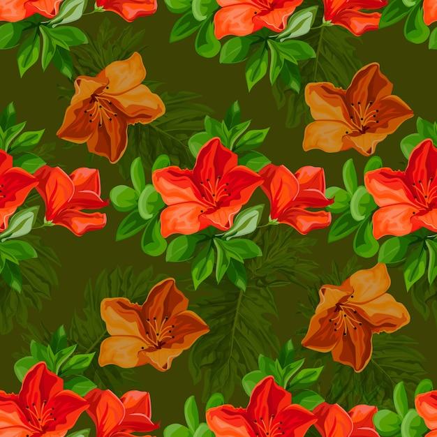 Flor tropical padrão sem emenda no estilo brillante de cor Vetor Premium