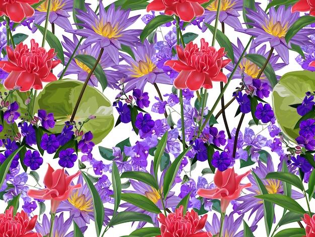 Flor tropical sem costura Vetor Premium