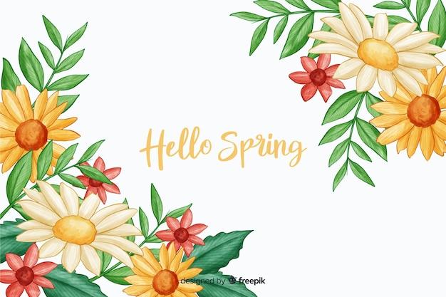 Flora amarela com citação de olá primavera Vetor grátis