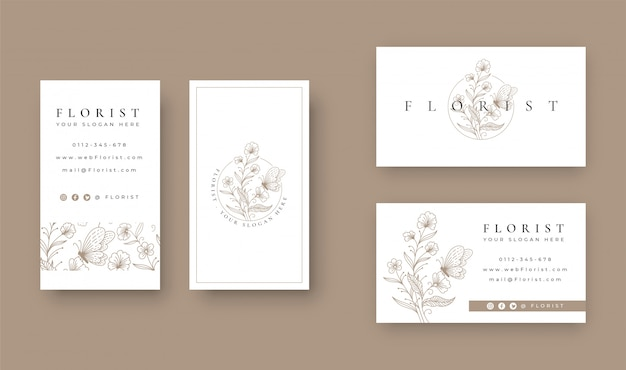 Floral com design minimalista de borboleta com cartão de visita Vetor Premium