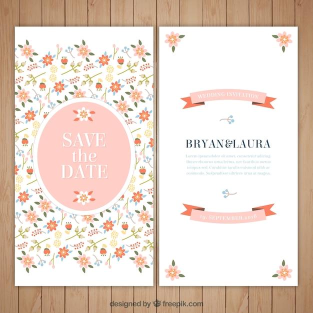 Floral e convite bonito do casamento Vetor grátis
