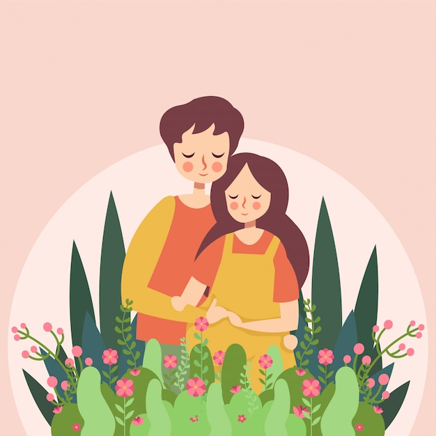 Floral grávida Vetor Premium