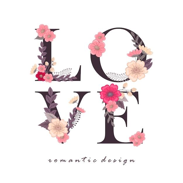 Floral palavra amor (flores, grama, folhas). carta floral. Vetor Premium