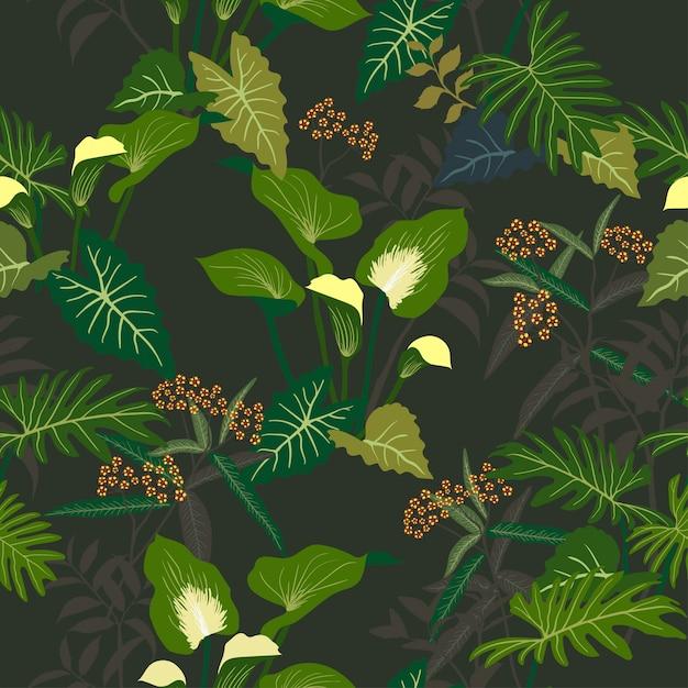 Floral tropical e deixa o teste padrão sem emenda na noite escura do verão Vetor Premium