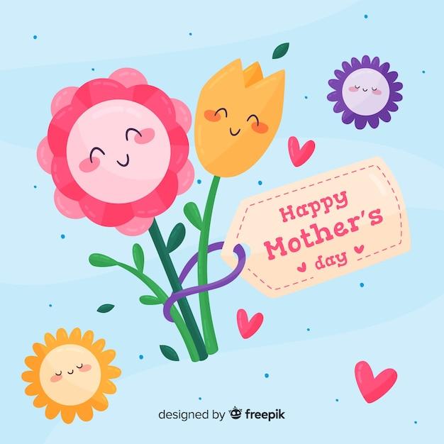 Flores, abraçando, dia mãe, fundo Vetor grátis