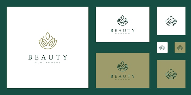 Flores abstratas limpas e elegantes, inspirando logotipos de beleza, ioga e spa. Vetor Premium