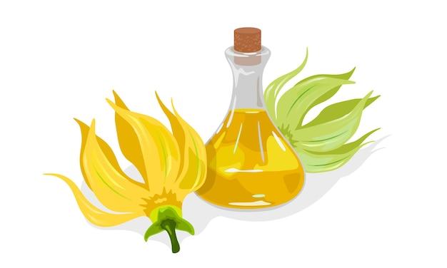 Flores amarelas de cananda odorata ou ylang ylang estão perto de um frasco de vidro com rolha e óleo essencial com fragrância dourada. Vetor Premium