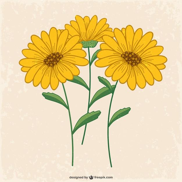 Flores amarelas Vetor grátis