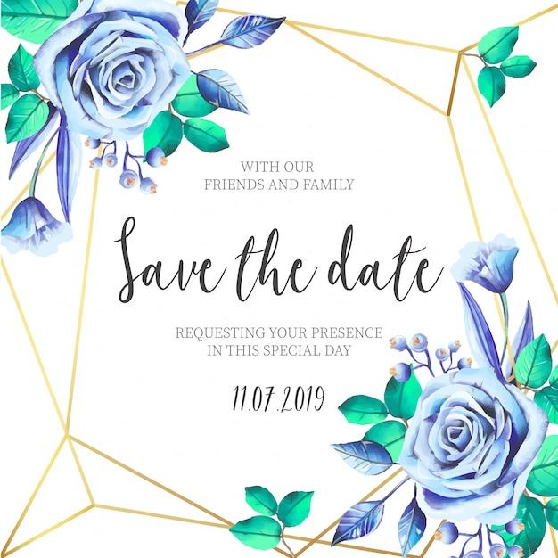 Flores azuis com convite de casamento de moldura dourada Vetor grátis