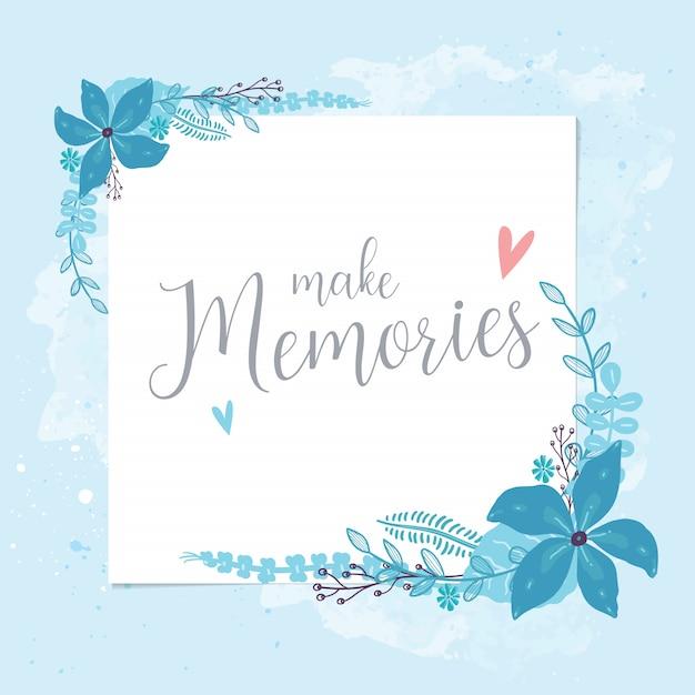 Flores azuis postais Vetor Premium