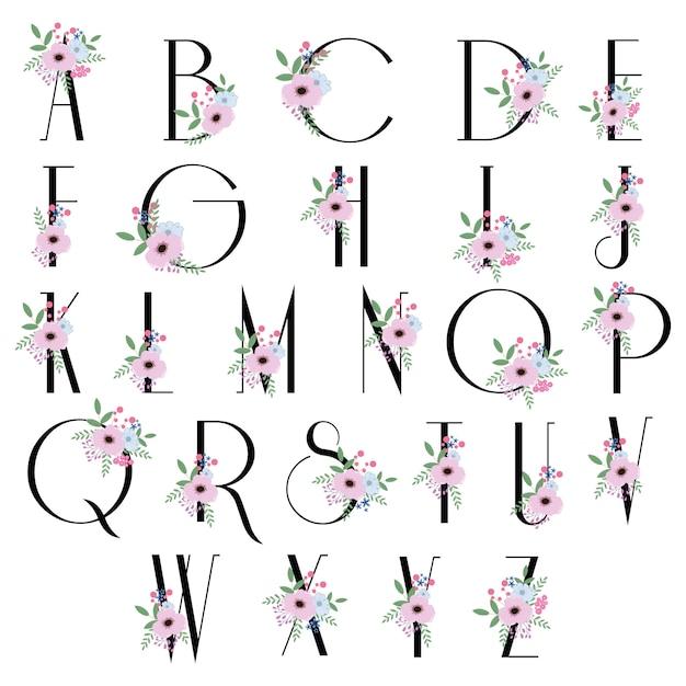 Flores bloom alfabeto - fonte para o logotipo do casamento Vetor Premium