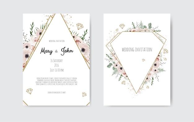Flores botânicas do projeto do molde do cartão do convite do casamento, as brancas e as cor-de-rosa. Vetor Premium