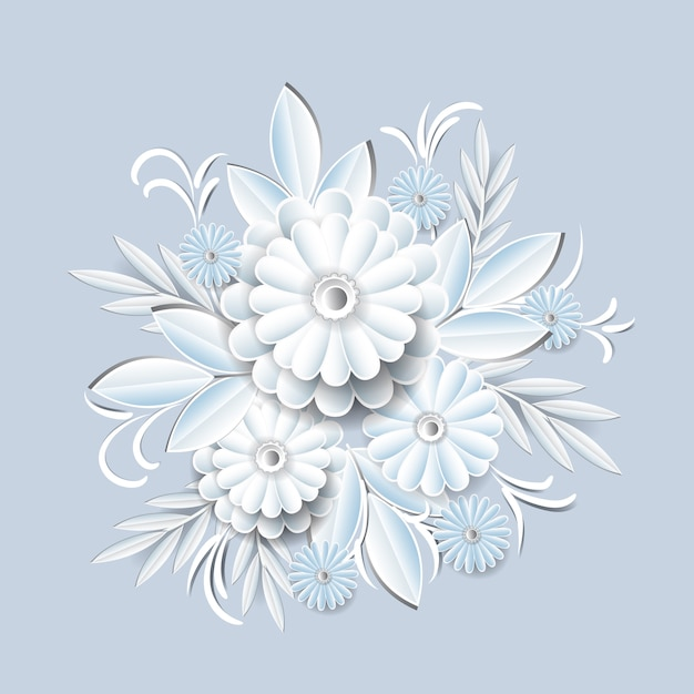 Flores brancas bonitas isoladas. elemento de decoração floral Vetor Premium