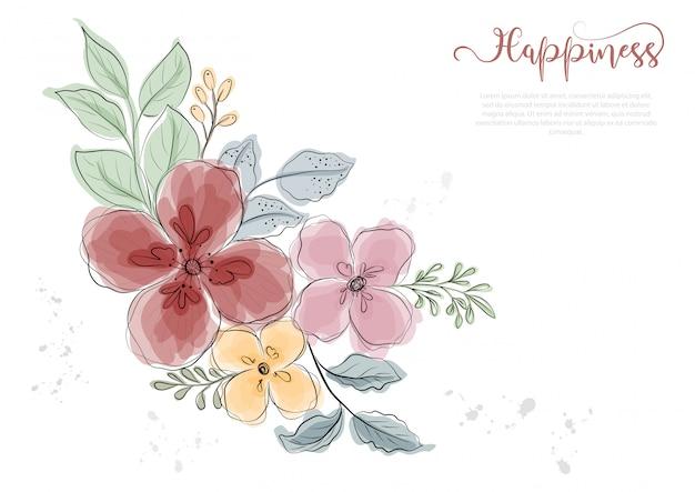 Flores coloridas desenhadas mão florescem com linha preta Vetor Premium