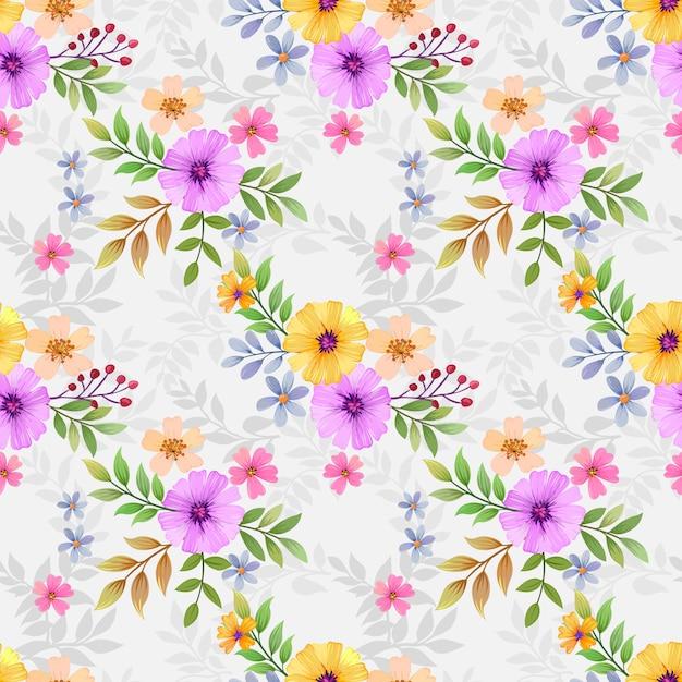 Flores coloridas sem costura para impressões de moda, embalagem, têxtil, papel, papel de parede. Vetor Premium