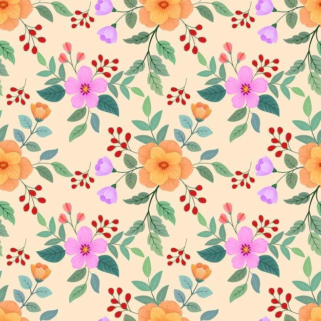 Flores coloridas sem costura Vetor Premium